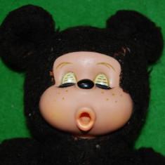 Jucarie plus mascota Monchhichi (kiki), maro inchis, 29 cm, Mickey Mouse, - Jucarii plus