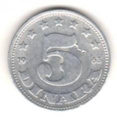 SV * Iugoslavia 5 DINARA 1963 aluminiu, Europa