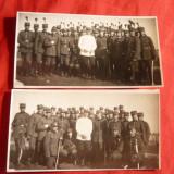 2 Fotografii mici- Trupa de Cavalerie si Infanterie, cu Ofiterul - Sc. Sibiu - Fotografie veche