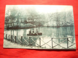 Ilustrata clasica - Ocna Sibiului -Plimbare cu barca la Baile calde 1912, Circulata