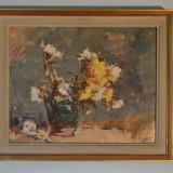 "Teodor Harsia, ""Flori"", ulei, carton, semnat dreapta jos - Pictor roman"