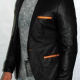 Sacou barbati din piele eco ecologica Sacouri ocazie model 2015 Marimi: 44, 46, Culoare: Negru, 1 nasture, Normal
