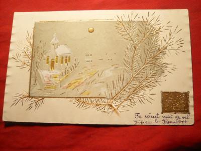 Ilustrata Felicitare de Craciun 1904 , aurita foto