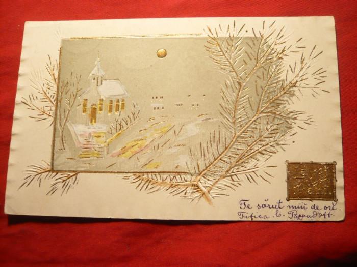 Ilustrata Felicitare de Craciun 1904 , aurita