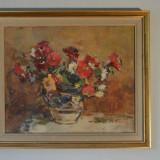 "Teodor Harsia, ""Flori in ulcior"", ulei, panza pe carton, semn. dr. jos - Pictor roman"