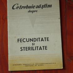 Ce trebuie sa stim despre Fecunditate si Sterilitate / Ed. Medicala 1966 /20 pag