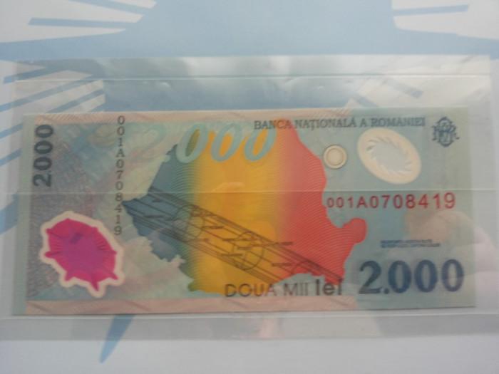 Bacnota 2000 lei cu eclipsa de soare din anul 1999 foto mare