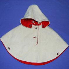 Pelerina pentru fetite, marca Façona Austria, din lana, captusita, cu gluga, Marime: S, Culoare: Albastru