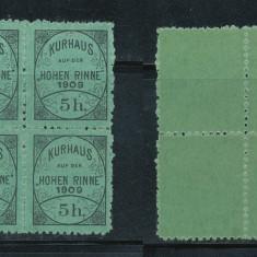 1909 Ungaria Romania timbru local Paltinis Hohe Rinne 5h bloc de 4 neuzat - Timbre Romania, Nestampilat