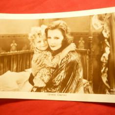 Ilustrata- Personalitati -Fotografie- Greta Garbo cu copil , interbelica, Necirculata