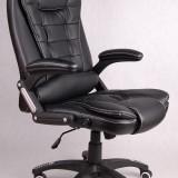 Scaun de birou directorial piele fina rezistenta  Brandon Managerial NEGRU