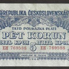 CEHOSLOVACIA 5 COROANE KORUN 1944 [1] P-46, XF+ - bancnota europa