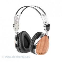 CASTI AUDIO KRUGER&MATZ (SAPELE), Casti On Ear, Cu fir, Mufa 3, 5mm, Active Noise Cancelling