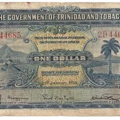 TRINIDAD TOBAGO 1 DOLAR DOLLAR 1939 U - bancnota america