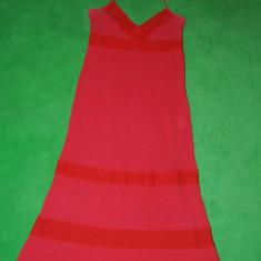 Rochie din panza de bumbac, etno, rustic, hippi, rosu cu dantela, marime 38 EU; - Rochie de zi, Marime: 40, Culoare: Din imagine, Cu bretele