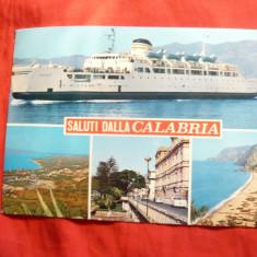 Ilustrata -Nave -Calabria - Nava Pasageri, circulat cu timbru-nava, Circulata