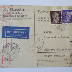 C.P. PAR AVION 1944 EXPEDIATA DIN GERMANIA IN ROMANIA CENZURI NAZISTE SI EXTERNA, Circulata, Printata, Romania 1900 - 1950