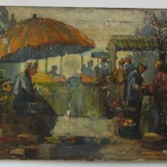 """""""Piata"""" pictura veche ulei"""