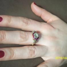 Inel de aur cu diamant central de 2 carate - Inel aur, Carataj aur: 14k, Culoare: Galben