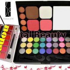 Trusa 32 culori cu blush si pudra Fraulein38 + CADOU Paleta 6 nuante Ruj & Gloss