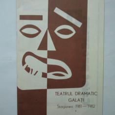 Teatrul Dramatic Galati Stagiunea 1981 - 1982 - Pliant Meniu Reclama tiparita