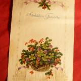 Ilustrata - Felicitare Craciun - Cos cu Flori -circulat 1930 - Carte postala tematica, Circulata