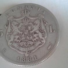 5 LEI 1881 FRUMOS REGE /3 - Moneda Romania