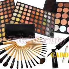 Trusa Machiaj 120 culori neutre Fraulein38 + 24 Pensule + 15 Corector + Eyeliner