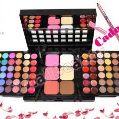 Trusa machiaj 78 culori cu ruj, corector, pudra, blush Fraulein38 + Creion CADOU - Trusa make up