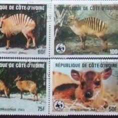 COASTA DE FILDES - FAUNA WWF 4 VALORI, OBLITERATE - EO 072A