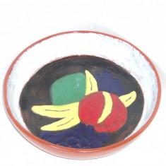 Fructiera ceramica smaltuita (cloisonne) handmade - marcaj Steninge Keramik - Arta Ceramica