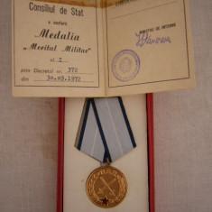 MCD1 - MEDALIA MERITUL MILITAR CLS I CU BREVET/LEGITIMATIE - ACORDATA IN 1972 - Decoratie