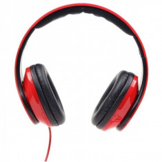 Casti cu microfon - dimensiune mare, GEMBIRD Detroit, red (MHS-DTW-R), Casti On Ear, Cu fir, Mufa 3, 5mm