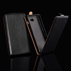 Husa Nokia Lumia 730 Flip Case Slim Inchidere Magnetica Black - Husa Telefon Nokia, Negru, Piele Ecologica, Cu clapeta, Toc