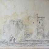 """Benjamin Barker """"Calaret"""" vechi desen 1820 - Pictor strain, Peisaje, Carbune, Realism"""