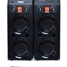 BOXE ACTIVE CU MP3 PLAYER SI MIXER,EFECTE VOCE+2 MICROFOANE WIRELESS KARAOKE.