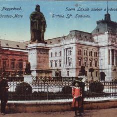 Romania, Nagyvarad, Oradea carte postala necirculata 1918: Statuia Sf. Ladislau - Carte Postala Crisana 1904-1918, Fotografie