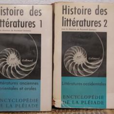 HISTOIRE DES LITTERATURES(2 VOL )- BIBLIOTHEQUE DE LA PLEIADE, ED. GALLIMARD - Carte de lux