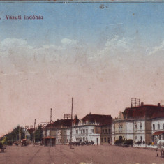 Romania, Oradea, carte postala circulata 1916: Scena din zona feroviara, animat - Carte Postala Crisana 1904-1918, Fotografie