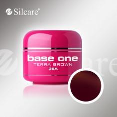 Gel uv Polonia Silcare Base one color Terra Brown 5 ml, pentru unghii false, Gel colorat