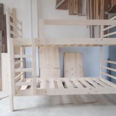 Pat etajat din lemn masiv pentru copii - Pat supraetajat pentru copii, Alb