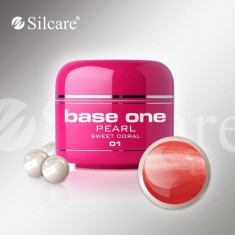 Gel uv Polonia Silcare Base one color sidefat Pearl Sweet Coral 5 ml, rosu, Gel colorat
