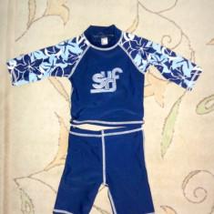 Costum de plaja 2 piese, protectie UV, marca Debenhams, baieti 12-18 luni, Culoare: Albastru