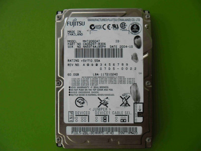 Hard Disk HDD laptop 60GB Fujitsu ATA IDE - DEFECT foto