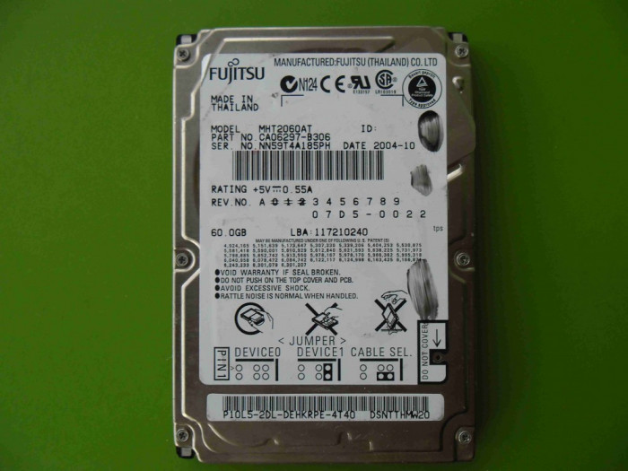 Hard Disk HDD laptop 60GB Fujitsu ATA IDE - DEFECT foto mare