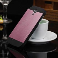 Husa carcasa MOTOMO roz cu negru pelicula aluminiu Samsung Galaxy S4 + folie - Husa Telefon Samsung, Metal / Aluminiu