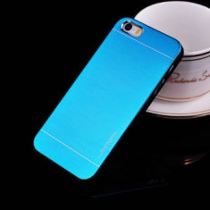 Husa MOTOMO blue bleu Iphone 4 4S + folie protectie ecran - Husa Telefon Apple, Albastru, Metal / Aluminiu, Carcasa