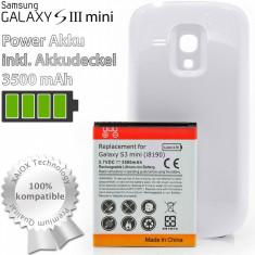 Baterie extinsa 3500 mah + capac alb Samsung Galaxy S3 Mini i8190 + folie, Li-ion