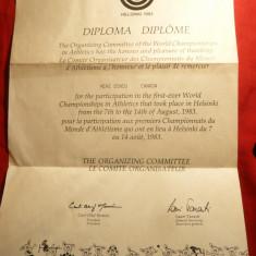 Diploma de participare la Campionatele Mondiale de Atletism -Helsinki 1983 - Diploma/Certificat