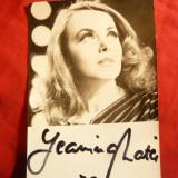 Fotografie cu Autograf - Cantareata Jeanina Matei 1979, dim.= 13, 3 x 8, 8 cm